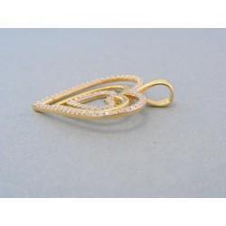 Zlatý prívesok trojité srdiečko žlté zlato kamienky DI470Z