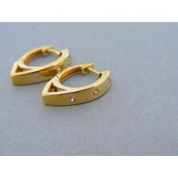 Zlaté dámske náušnice žlté zlato kamienky zirkónu DN344Z