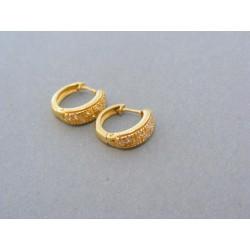 Zlaté náušnice vzorované žlté zlato zirkóniky kruhy DA274Z