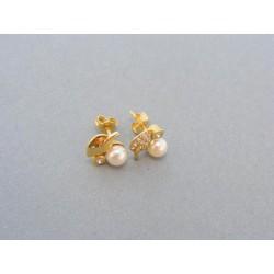 Zlaté náušnice v žltom zlate zirkón perla DA237Z