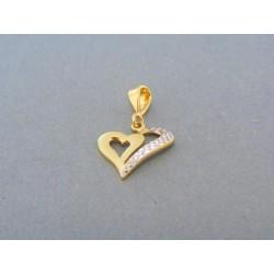 Zlatý prívesok tvar srdiečka žlté biele zlato DI092V