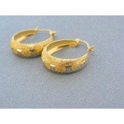 Zlaté náušnice vzorované krúžky žlté biele zlato Zlaté náušnice vzorované  krúžky ... a1a4d025745