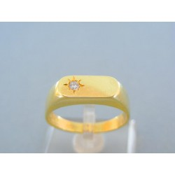 Zlatý pánsky prsteň žlté zlato zirkón VP69641Z
