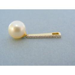 Zlatý prívesok žlté zlato perla briliant VIB254Z