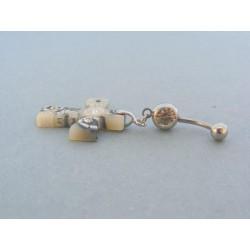 Piercing ch. oceľ kríž zo šperkárskej hmoty VO379