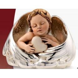 Strieborná soška spiace dieťa so srdiečkom D