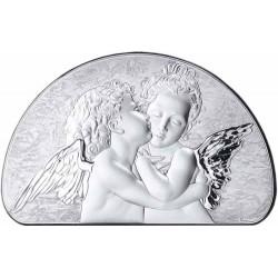 Strieborný obraz dvaja anjelíci D