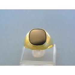 Zlatý prsteň pánsky žlté zlato kameň onyx VP66567Zšo