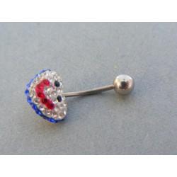 Piercing ch. oceľ tvar usmiate srdiečko krištáliky VO107