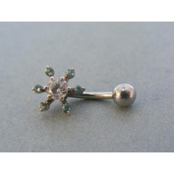 Piercing ch. oceľ tvar kvet kamienky zirkónu VO155