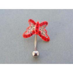 Piercing ch. oceľ tvar motýľ krištáliky VO114