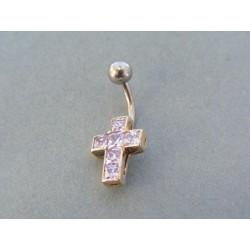 Piercing ch. oceľ tvar kríž kamienky VO206