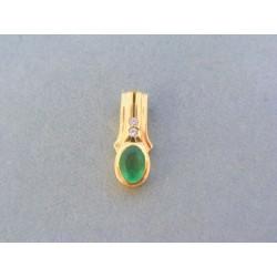 Zlatý prívesok dámsky žlté zlato zelený kameň diamanty VI205Z