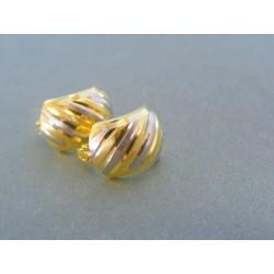Zlaté náušnice zaoblené dvojfarebné zlato VA218V/2