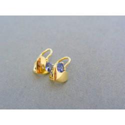 Zlaté detské náušnice srdiečka žlté zlato modrý kamienok VA112Z