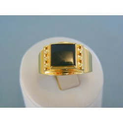 Zlatý pánsky prsteň žlté zlato kameň onyx DP73526Z