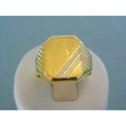 Zlatý pánsky prsteň žlté biele zlato VP66474V