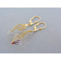 Zlaté dámske visiace náušnice zaujímavy tvar žlté biele zlato VA298V