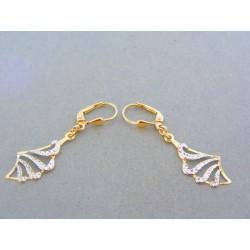 Zlaté dámske visiace náušnice žlté biele zlato vzorované VA167V