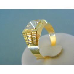 Zlatý pánsky prsteň žlté biele zlato zirkóny DP63507V