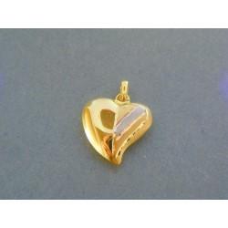 Zlatý prívesok srdiečko žlté biele zlato VI108V 14 karátov 585/1000 1.08g