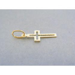 Zlatý prívesok krížik vzorovaný žlté zlato VDIK038Z 14 karátov 585/1000 0.38g