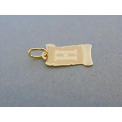 Zlatý prívesok platnička písmeno H žlté zlato DI051Z 14 karátov 585/1000 0.51g