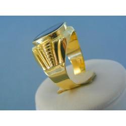 Zlatý pánsky prsteň žlté zlato kameň onyx vzorovaný VP66805Z 14 karátov 585/1000 8.05g