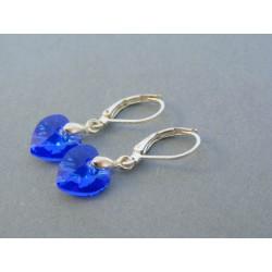 Postriebrené dámske náušnice modré srdiečka kameň swarovského DAS201 2.01g