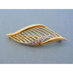 Zlatá dámska brošňa žlté biele zlato kamienky VB541V 14 karátov 585/1000 5.41g