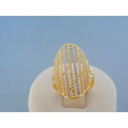 Zlatý dámsky prsteň žlté zlato posiaty kamienkami DP52321Z 14 karátov 585/1000 3.21g