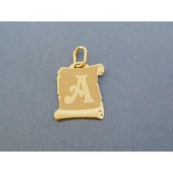 Zlatý prívesok písmeno A žlté zlato DI051Z 14 karátov 585/1000 0.51g