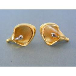 Zlaté dámske náušnice žlté biele zlato zaujímavy tvar VA497V 14 karátov 585ú1000 4.97g