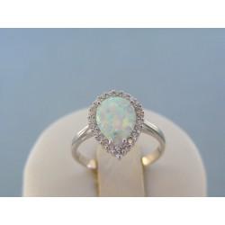 Zlatý dámsky prsteň biele zlato bielý opál DP53236B 14 karátov 585/1000 2.36g