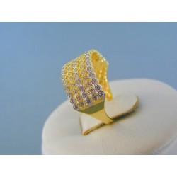 Zlatý dámsky prsteň žlté biele zlato posiaty kamienkami DP55233V 14 karátov 585/1000 2.33g