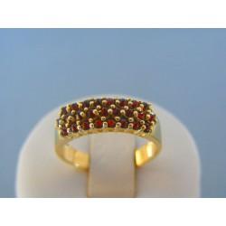 Zlatý dámsky prsteň žlté zlato český granát DP58350Z 14 karátov 585/1000 3.50g