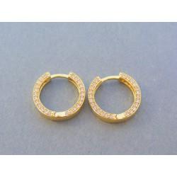 Zlaté dámske náušnice kruhy kamienky DA316Z 14 karátov 585/1000 3.16g