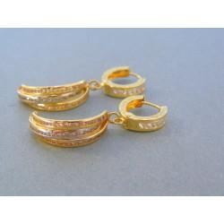 Zlaté visiace dámske náušnice žlté zlato kamienky DA346Z 14 karátov 585/1000 3.46g