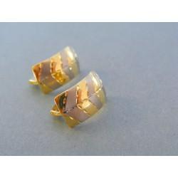 Zlaté dámske náušnice žlté biele zlato mohutný tvar VA306V 14 karátov 585/1000 3.06g