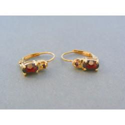 Zlaté dámske náušnice žlté zlato kameň český granát VA224Z 14 karátov 585/1000 2.24g