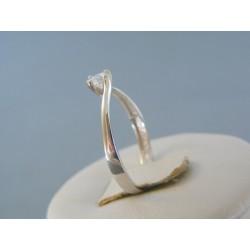 Zlatý dámsky prsteň jednoduchý tvar biele zlato zirkón VP58148B 14 karátov 585/1000 1.48g