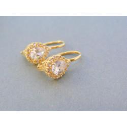 Zlaté dámske náušnice slza žlté zlato kamienky VA339Z 14 karátov 585/1000 3.39g