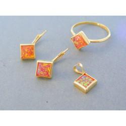 Zlatá dámska súprava náušnice prívesok prsteň kameň opál žlté zlato DS55417Z 14 karátov 585/1000 4.17g