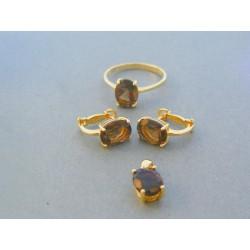 Zlatá dámska súprava prsteň náušnice prívesok prírodny kameň žlté zlato VS55582Z 14 karátov 585/1000 5.82g