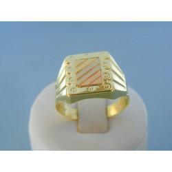 Zlatý pánsky prsteň žlté biele červené zlato DP68416V 14 karátov 585/1000 4.16g