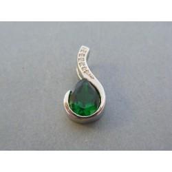 Strieborný dámsky prívesok zelený kameň DIS253 925/1000 2.53g