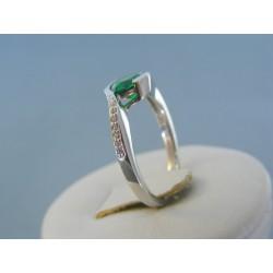 Strieborný dámsky prsteň zelený kameň DPS53275 925/1000 2.75g