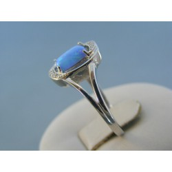 Strieborný dámsky prsteň modrý opál DPS59327 925/1000 3.27g