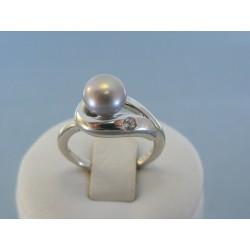 Strieborný dámsky prsteň ozdoba perla DPS55373 925/1000 3.73g