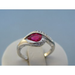 Strieborný dámsky prsteň červený kameň DPS54292 925/1000 2.92g